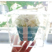 """《名入れギフト☆メッセージ刻印》message ROSE   """"TIFFANY FLOWER""""  ☆大きいサイズ☆上品なティファニーカラーのフラワーボックス"""