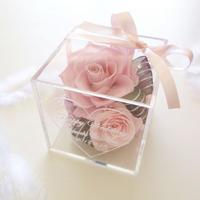 """《名入れギフト☆メッセージ刻印》message ROSE  """"SWEET"""" 優しいピンクのフラワーボックス"""