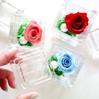 """《名入れギフト☆メッセージ刻印》message ROSE """"ROSE CUBE""""  プチギフトにも ☆バラを隠した小さな宝石箱"""