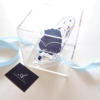 """《名入れギフト☆メッセージ刻印》message ROSE """"DIAMOND ROSE""""(BLUE)☆大きいサイズ☆高級ダイヤモンドローズがきらめくガラスの靴"""