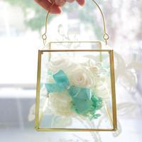 """《名入れギフト☆メッセージ刻印》message ROSE """"PURE FLOWER"""" 上品なティファニーカラーのフラワーバッグ"""