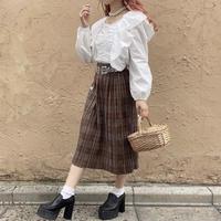 秋色チェックプリーツスカート【192-4031】