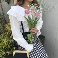 丸襟コットン花柄ブラウス