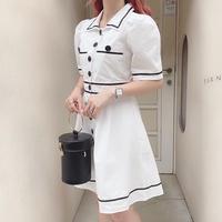 ホワイトマリンワンピース【201-6089】