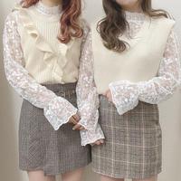 花刺繍レースブラウス【192-1040】