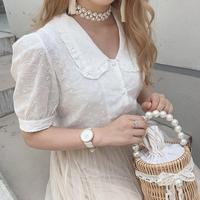 コットン刺繍フラワーブラウス【201-1088】