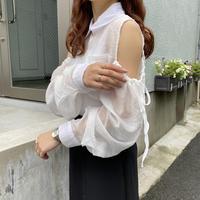 肩あきシアーシャツ【211-1049】