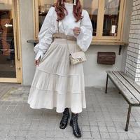 ホワイトベロアティアードスカート【202-4002】