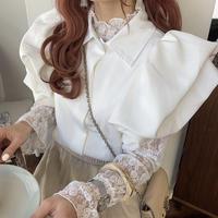 半袖パフスリーブホワイトシャツ【192-1046】