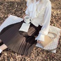 ブラウン上品プリーツスカート【192-4029】