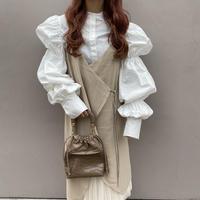 コットン袖パフロングシャツ【192-1034】
