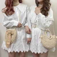 コットン花刺繍スカート【191-4068】