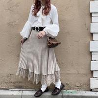 裾レースニットプリーツスカート【192-4035】