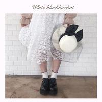 ブラックリボンホワイト麦わら帽子【191-9038】