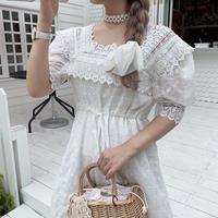 フラワー刺繍ホワイトワンピース【201-6085】