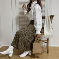 小花柄レトロブラウンスカート【192-4038】