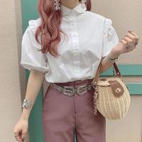 丸襟パフスリーブシャツ【201-6041】