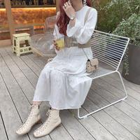 ホワイトティアードワンピース【201-6018】