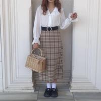 ベージュチェックロングタイトスカート