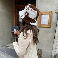 牛柄ファーバケットハット【211-9001】