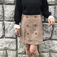 チェック台形ボタンスカート