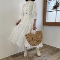 コットン刺繍ティアードスカート【211-4024】