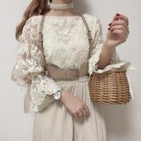 花刺繍シアーリボンブラウス【201-1069】