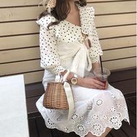 コットン刺繍キャミワンピ【191-6068】
