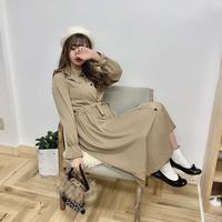 ブラウン襟フリルロングワンピース【192-6026】