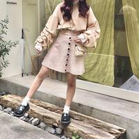 ピンクベージュニットスカート【192-4009】
