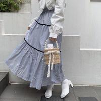 ストライプティアードスカート【201-4026】