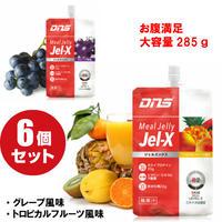 DNS ジェルエックス 食事代用 エナジーゼリー大容量 285g×6個/グレープ風味/トロピカルフルーツ風味