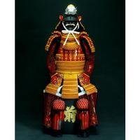 【O-018】金茶糸威段替赤二枚胴具足(きんちゃいとおどしだんがえあかにまいどうぐそく)