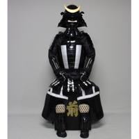 【O-057】黒白糸威黒桶側二枚胴具足