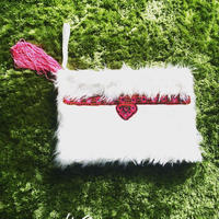 Fake fur clutch bag