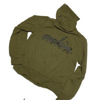 """GRASSHOPPER RECORDS OFFICIAL Hoodies """"Olieve Green body (black print)"""""""