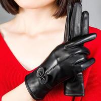 100%正規■総本革 手袋 防寒 淑女 高級 赤い恋人&黒い夢 2色■品質保証^^