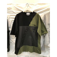 Slash wall tee (black × khaki)