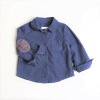 肘当て付きネイビーのシャツ cotton mill