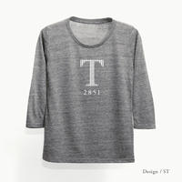 レディース トライブレンド8分袖Tシャツ / ヘザーブラック