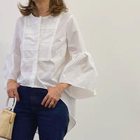 ラッフルスリーブシャツ ホワイト