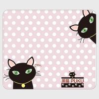 黒猫PUKU 手帳型帯なしandroidケースpink×white水玉