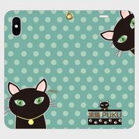 黒猫PUKU 手帳型帯なしiPhoneケース  blue×green水玉