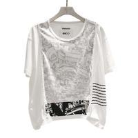 00○○×diddlediddle ワイドコンシール Tシャツ(機械柄) / 2008-22 BLACK