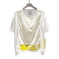 00○○×diddlediddle ワイドコンシール Tシャツ(機械柄) /2008-22 YELLOW