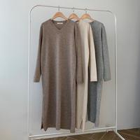 【SALE】v knit long op