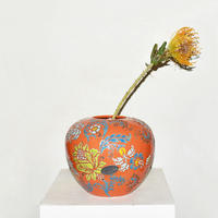 Flower Drawing Pottery Vase(W22×H18)/ORANGE