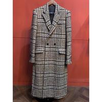 ys Yuji SUGENO/Loop Check Tweed Semi-Double Long Coat