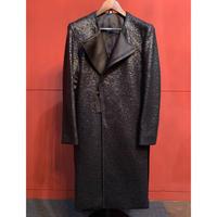 ys Yuji SUGENO/210831104 / Black Foil Tweed No Col lar Riders Coat