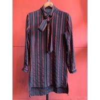 ys Yuji SUGENO/Dobby Stripe Short Collar Semi-Long Shirt